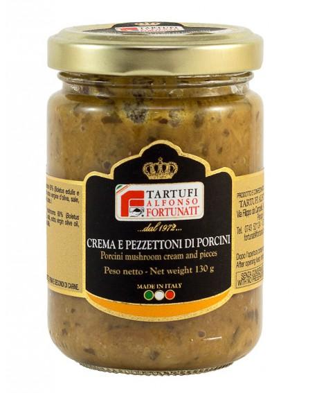 Crema e pezzettoni di porcini 130 g, in vasetto di vetro - Tartufi Alfonso Fortunati