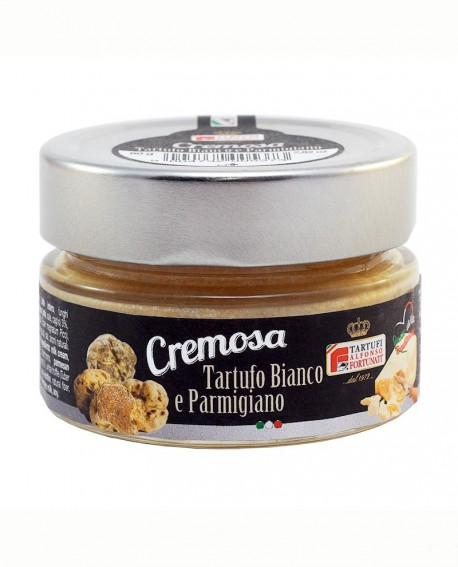 Crema Tartufo Bianco e parmigiano 80 g, in vaso di vetro - Tartufi Alfonso Fortunati