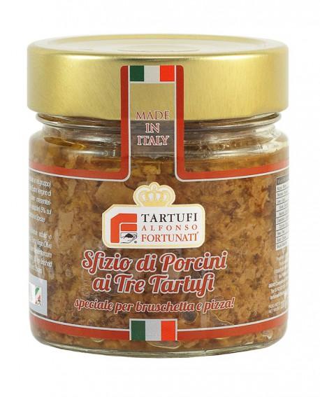 Sfizio di porcini ai tre tartufi 200 g, in vasetto di vetro - Tartufi Alfonso Fortunati