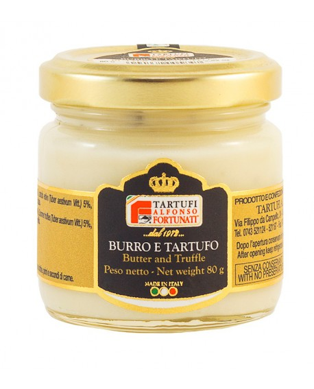 Burro al tartufo estivo 80 g, sterilizzato in vasetto di vetro - Tartufi Alfonso Fortunati