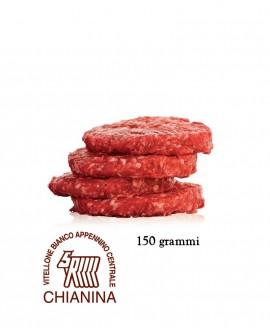 Hamburger di Chianina IGP 150g, in skin, cartone da n.18 pezzi - 2,7 Kg - Macelleria Carni IGP Certificate