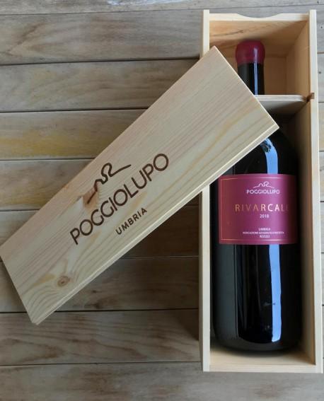 RIVARCALE Umbria Rosso IGP - vino rosso MAGNUM 1,5 lt con cassetta in legno - Cantina PoggioLupo